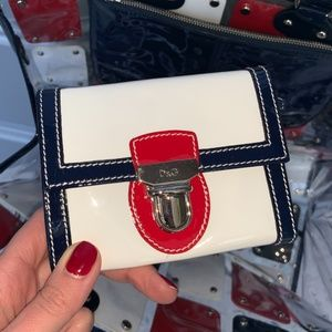 D&G Red, White, Blue Patent Leather Wallet - NEW!